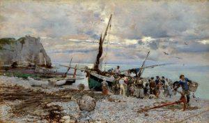 The Return of the Fishing Boats, Etretat - Giovanni Boldini