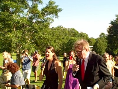 Garrison Keillor and Heather Masse serenade the Tanglewood lawn audience before start of the June 29, 2013 broadcast of A Prairie Home Companion.