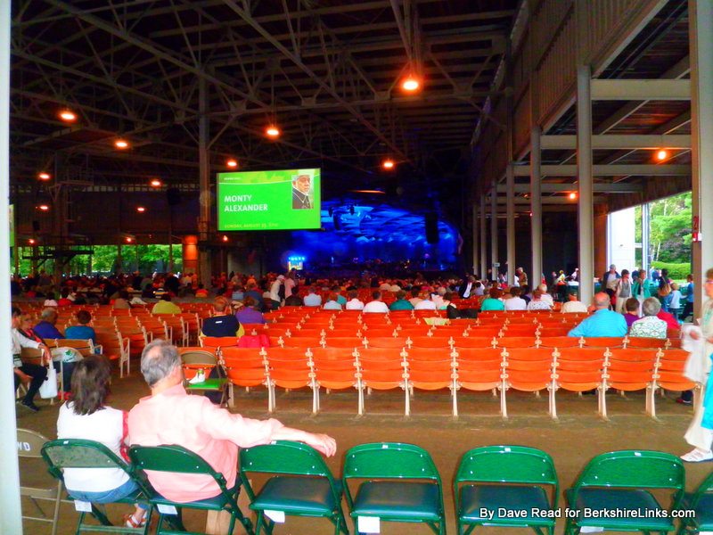 Early arrivals see promos for upcomong Tanglewood concerts and events.