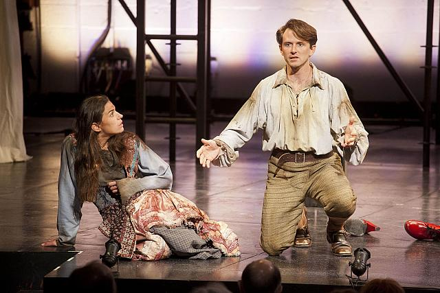 Brooke Parks and Ryan Winkles in Mother Courage at Shakespeare & Co., Lenox, MA