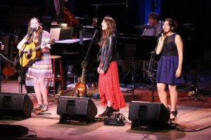 June 27, 2015 broadcast of A Prairie Home Companion at Tanglewood, Sarah Jarosz, Sara Bareilles, and Nadia DiGiallonardo performing.