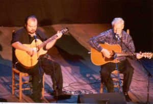 Doc Watson and grandson Richard at the Mahaiwe Theatre, Gt. Barrington, March 30, 2002