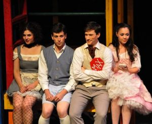 Becky Webber, Julian Whitley, Kyle Schaefer and McCaela Donovan in Candide at Berkshire Theatre Festival; Amie Conner photo.