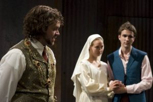 Tom O'Keefe, Emily Hagburg and Ross Bennett Hurwitz in Measure for Measure at Shakespeare and Co.