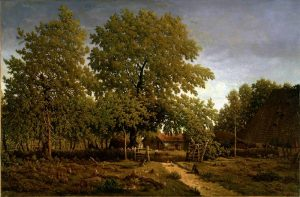 Farm in the Landes (House of the Garde), painted between 1844 and 1867, by Pierre Étienne Théodore Rousseau Oil on canvas, 25 1/2 x 39 in. Sterling and Francine Clark Art Institute, Williamstown, Massachusetts