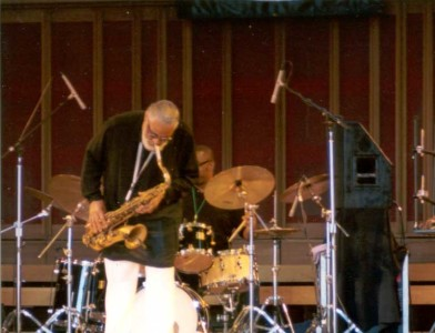 Sonny Rollins takes solo at Tanglewood Jazz Festival, Sept, 2, 2001