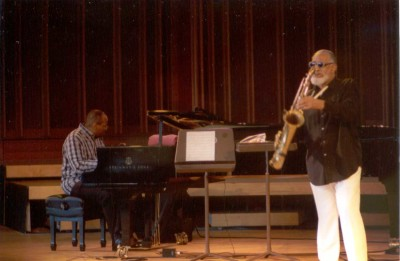Sonny Rollins with Stephen Scott on piano at Tanglewood Jazz Festival, Sept, 2, 2001