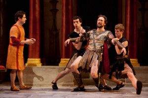 A Funny Thing Happened on the Way to the Forum at WTF - Christopher Fitzgerald, Adam Lerman, Graham Rowat, Zackary Grady. Photo by Sam Hough.