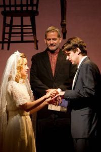 Brie Larson, Dylan Baker, Campbell Scott in Our Town at Williamstown Theatre Festival; photo T. Charles Erickson