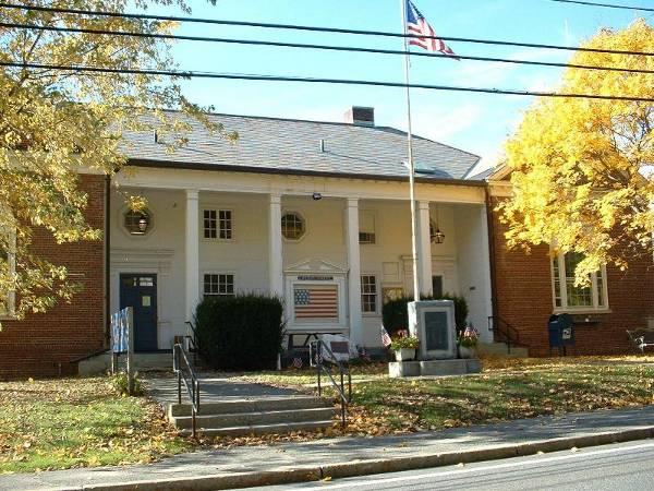 Clarksburg, Mass. Town Hall; photo by Wikipedia user ToddC4176.