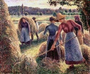 Haymakers, Evening, Éragny,1893, by Camille Pissarro