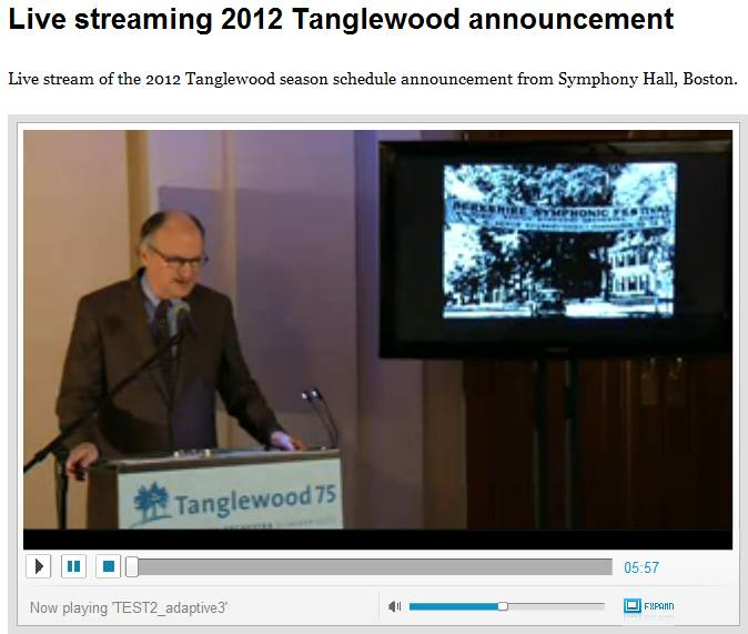 Tanglewood 2012 season announcement live stream