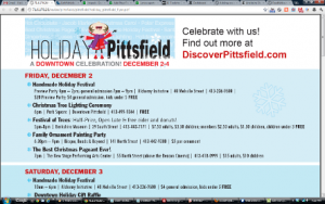 Pittsfield Holiday weekend Dec. 3-5, 2011 schedule of events
