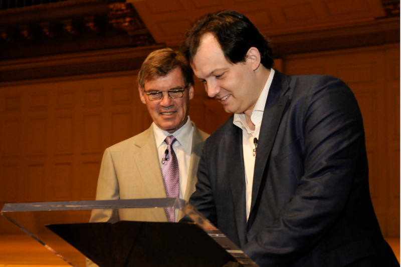 Andris Nelsons, newly appointed BSO Music Director signs his contract;Photo by Stu Rosner