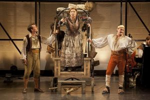 Ryan Winkles, Olympia Dukakis, and Josh Aaron McCabe in Mother Courage at Shakespeare and Co.