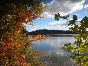 Fall foliage at Stockbridge Bowl in the Berkshires