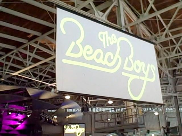Beach Boys logo on screen at Tanglewood