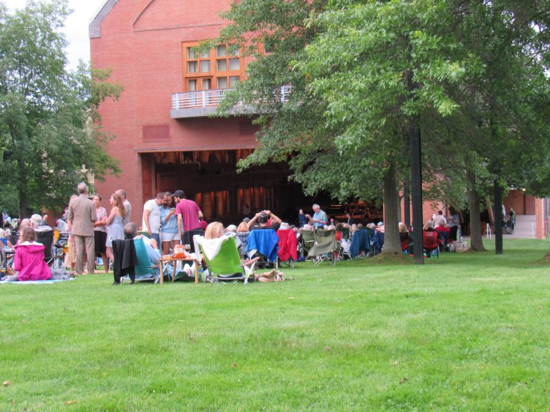 Seiji Ozawa Hall lawn scene at Tanglewood; Dave Read photo.