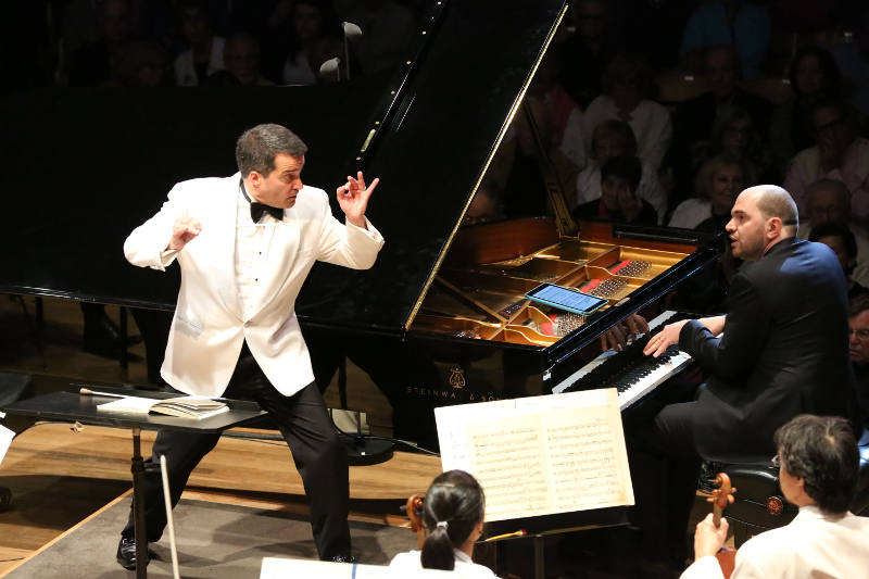 Jacques Lacombe and Kirill Gerstein perform with the Boston Symphony Orchestra on the Opening Night of the Tanglewood season 7.3.15 (Hilary Scott)