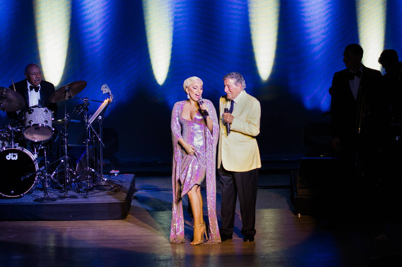 Tony Bennett and Lady Gaga performing at Tanglewood, Tuesday, June 30, 2015 (Michael Blanchard)