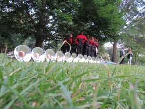 Boston Crusaders warm up before Tanglewood performance; BerkshireLinks photo.