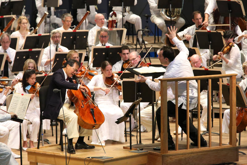 Andris Nelsons and Yo-Yo Ma at Tanglewood (Hilary Scott)