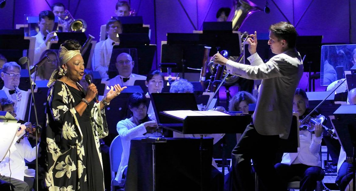 Jessye Norman and Keith Lockhart with the Boston Pops during John Williams' 80th birthday celebration at Tanglewood; photo:Stu Rosner.