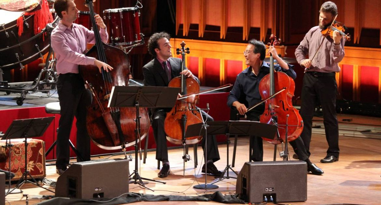 Yo-Yo Ma with musicians from the Silk Road Ensemble, Ozawa Hall, Tanglewood.