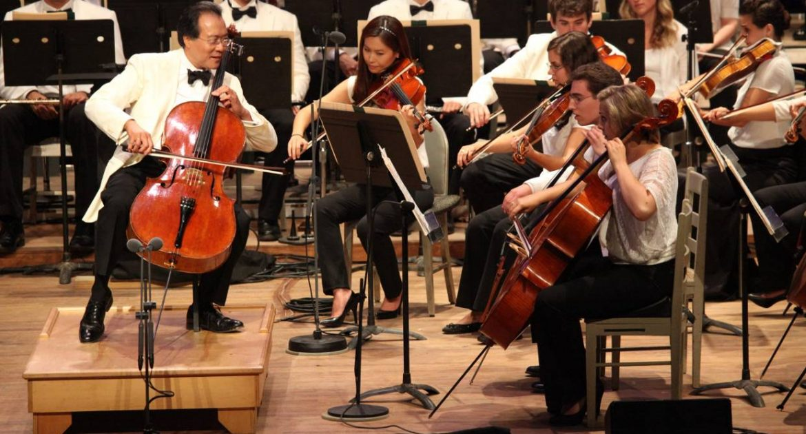 Yo Yo Ma and Tanglewood Music Center fellows performing at The Tanglewood 75th Anniversary Gala concert July 14, 2012.