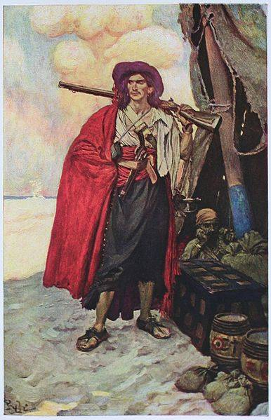 The Buccaneer was a Picturesque Fellow, illustration of Howard Pyle oil painting.